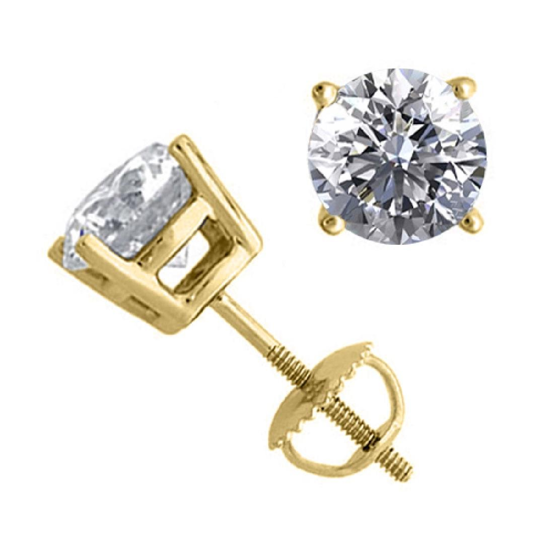 14K Yellow Gold Jewelry 2.04 ctw Natural Diamond Stud