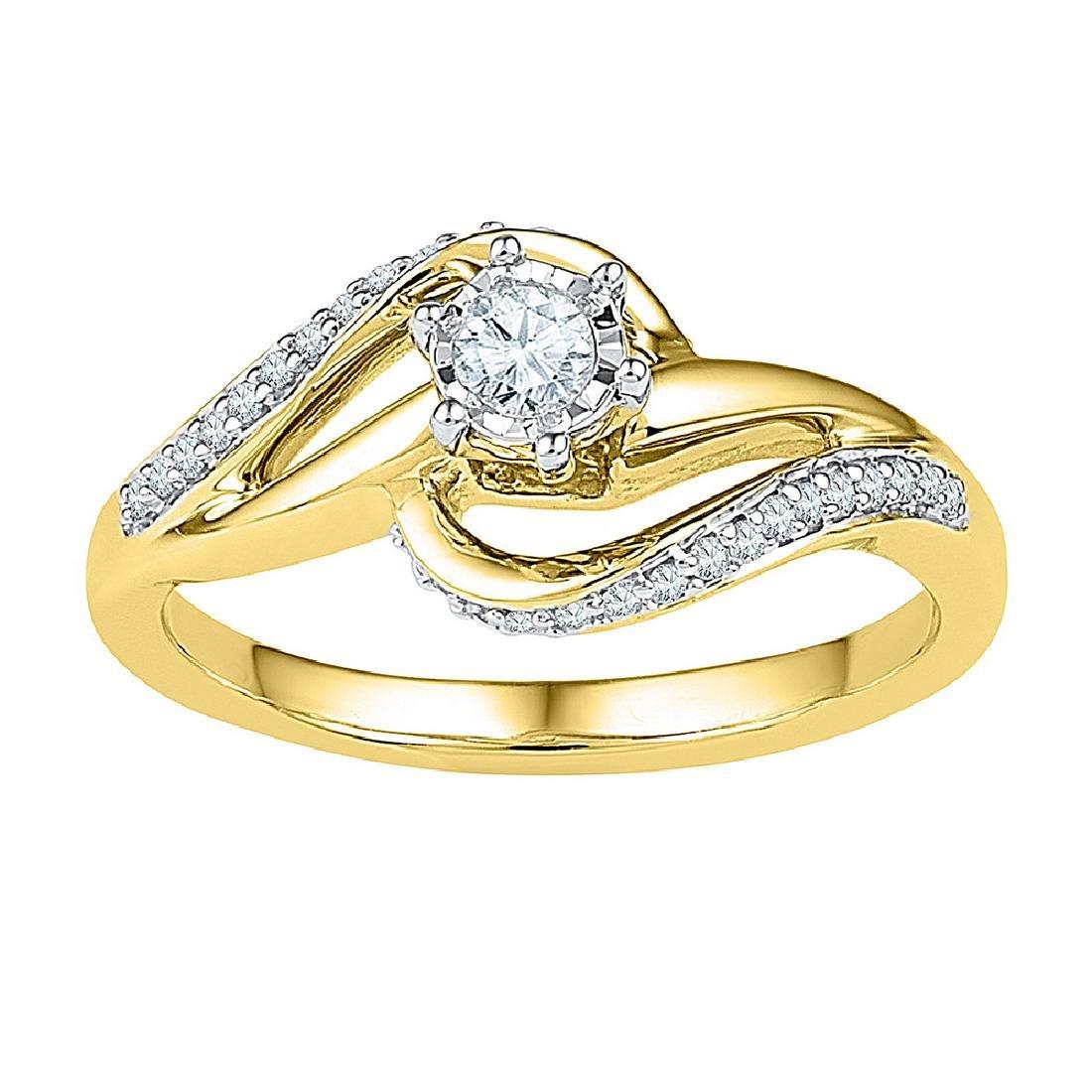 0.20 CTW Diamond Solitaire Swirl Bridal Engagement Ring