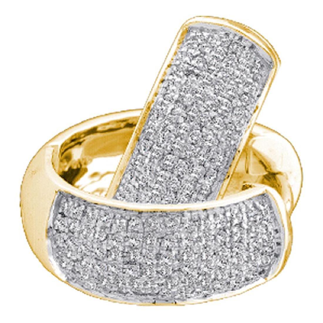 0.50 CTWPave-set Diamond Huggie Hoop Earrings 10KT