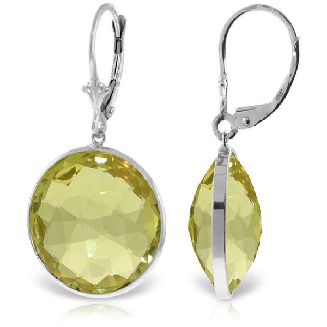 Genuine 34 ctw Quartz Lemon Earrings Jewelry 14KT White