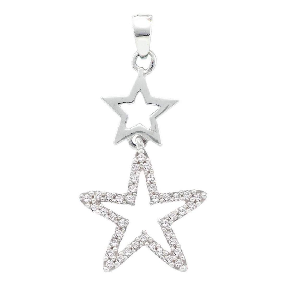 0.11 CTW Diamond Star Pendant 10KT White Gold -