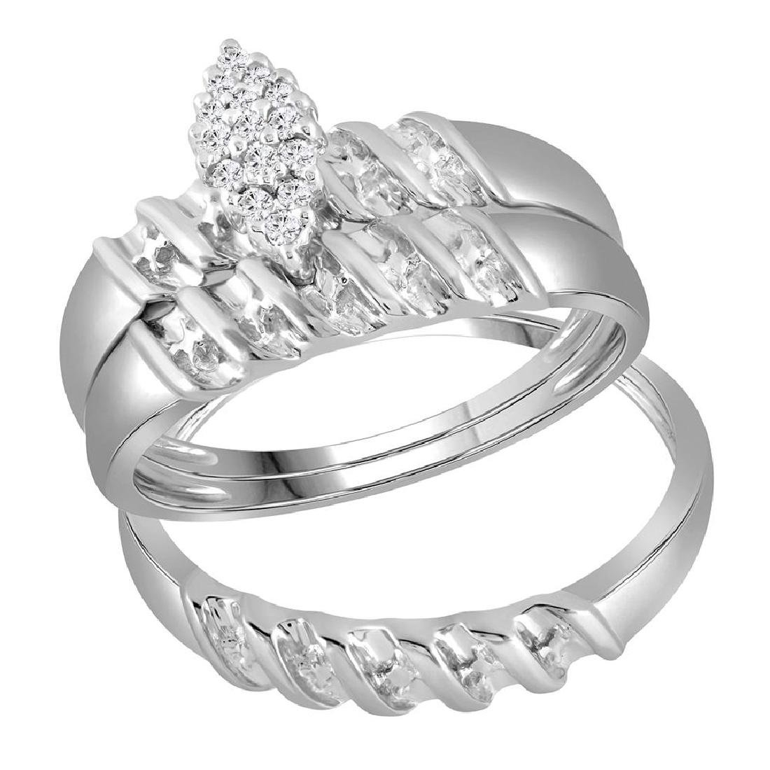 0.11 CTW His & Hers Diamond Cluster Matching Bridal