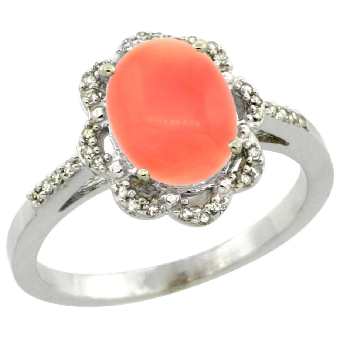 Natural 2.09 ctw Coral & Diamond Engagement Ring 10K