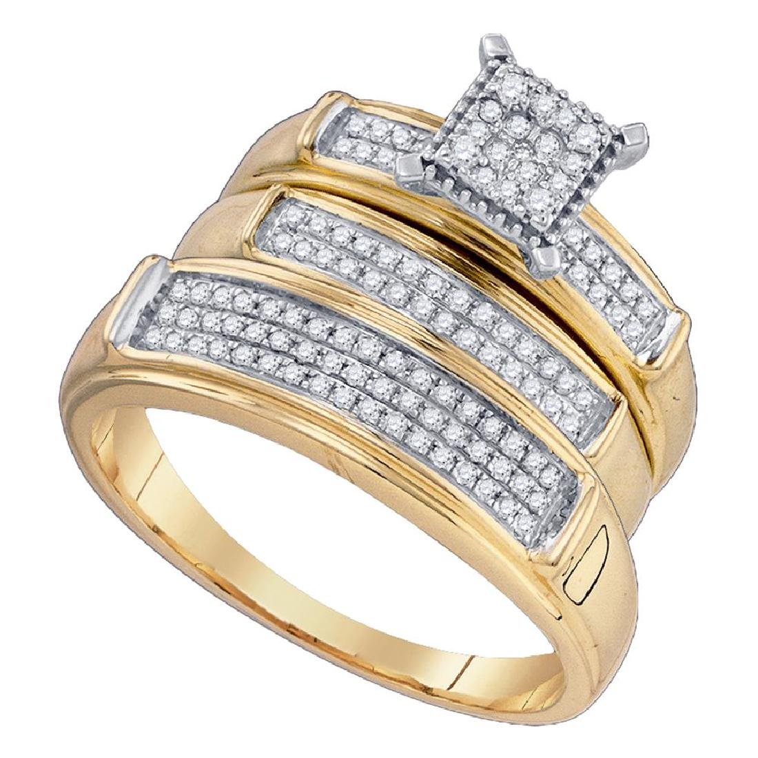 0.37 CTW His & Hers Diamond Cluster Matching Bridal