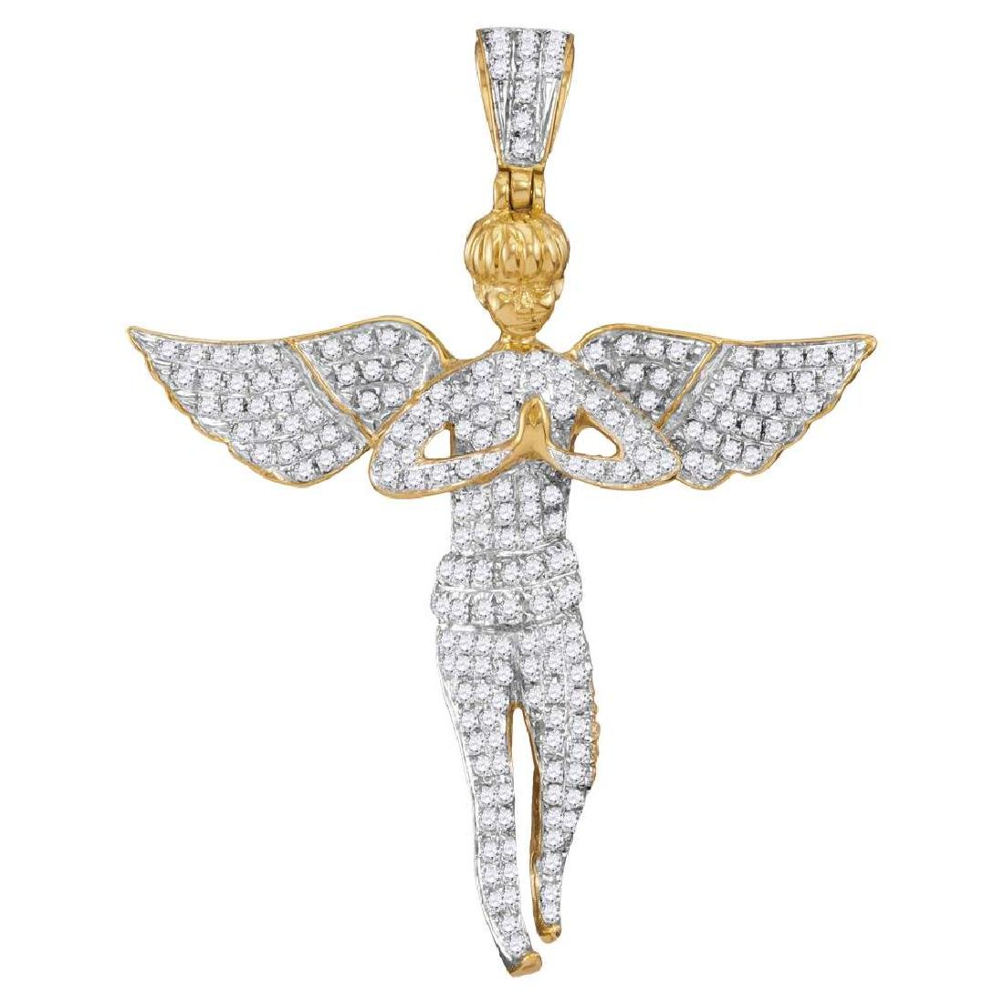 1 CTW Mens Diamond Angel Wings Cherub Charm Pendant