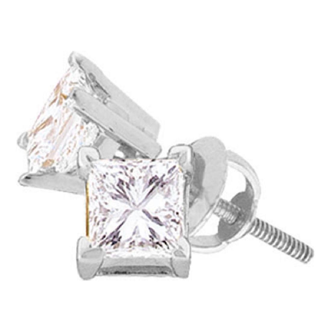 0.26 CTW Princess Diamond Solitaire Stud Earrings 14KT