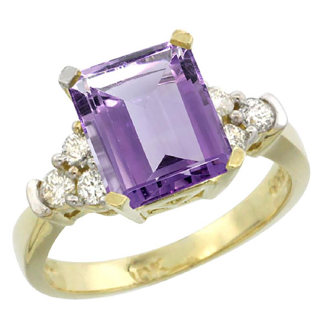 Natural 2.86 ctw amethyst & Diamond Engagement Ring 10K