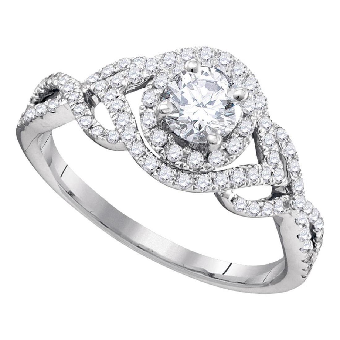 0.88 CTW Diamond Solitaire Bridal Engagement Ring 14KT