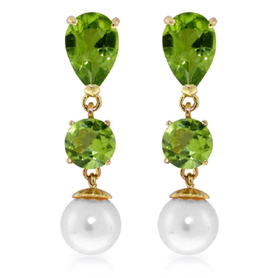 Genuine 10.50 ctw Peridot & Pearl Earrings Jewelry 14KT