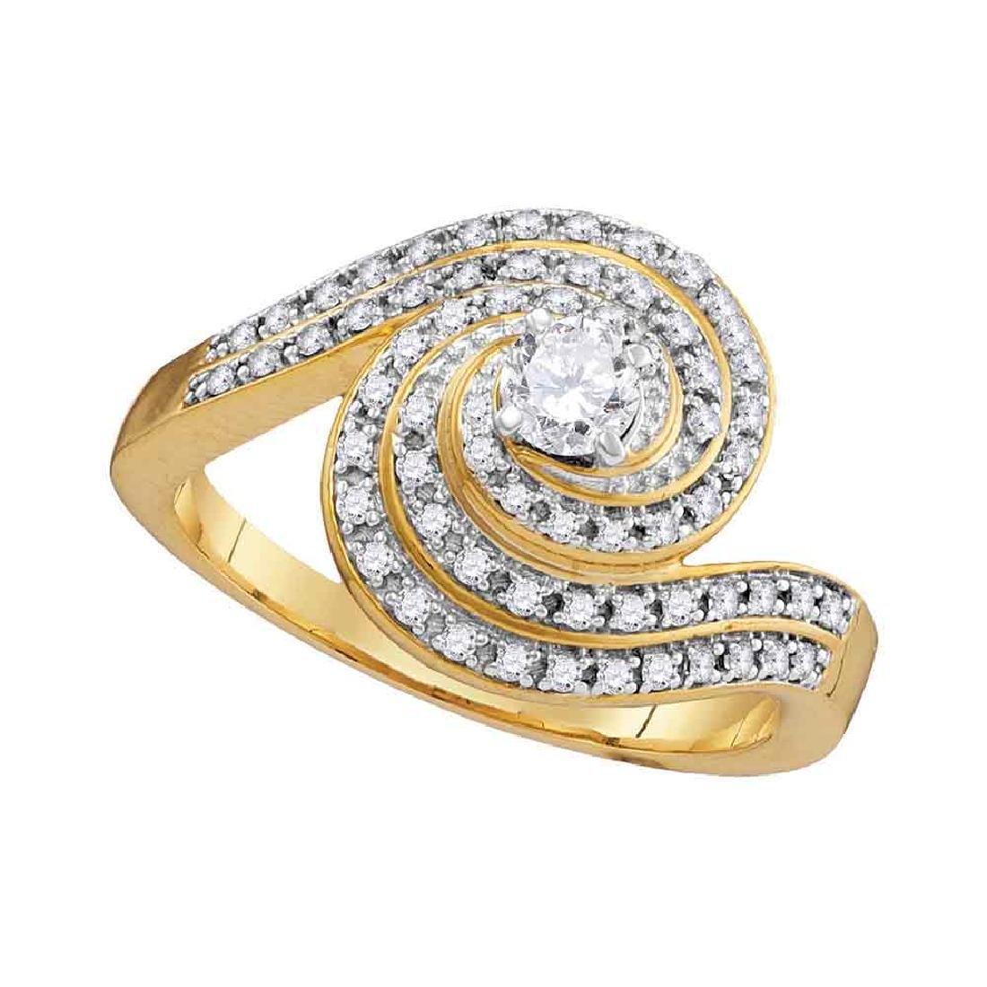 0.53 CTW Diamond Solitaire Swirl Bridal Engagement Ring