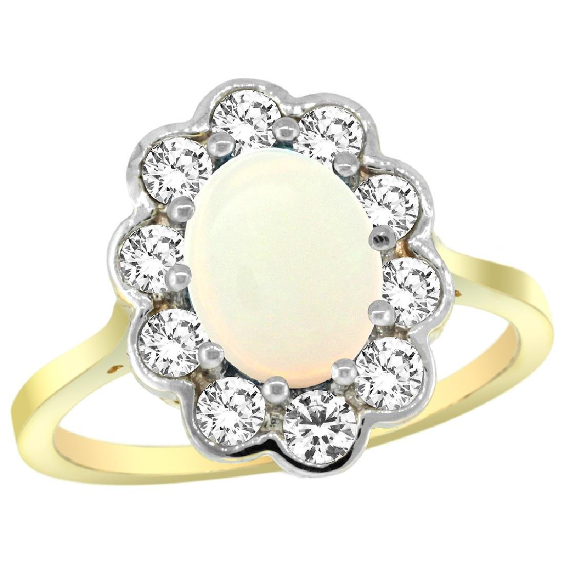 Natural 1.64 ctw Opal & Diamond Engagement Ring 10K