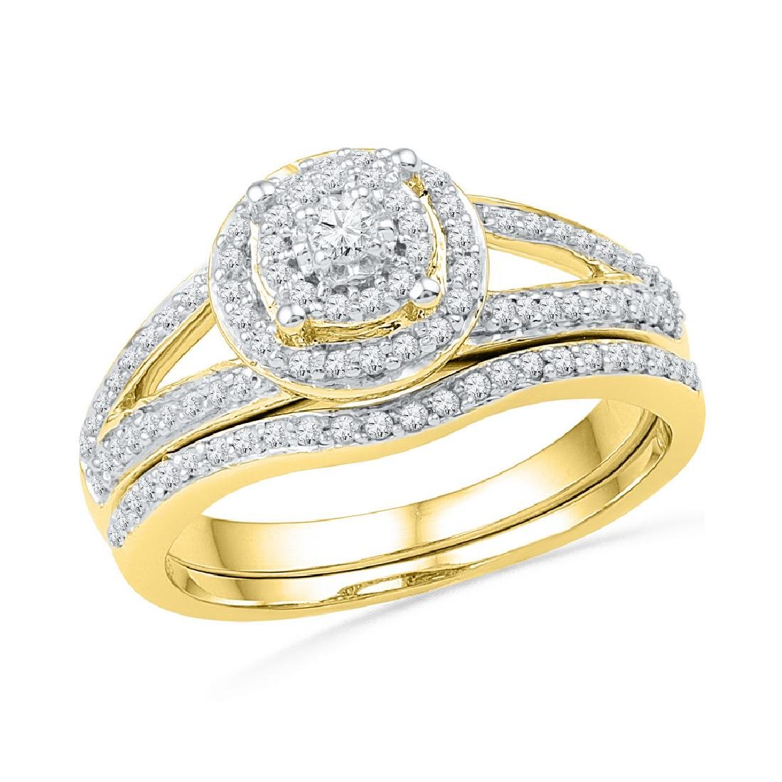 0.50 CTWDiamond Halo Split-shank Bridal Engagement Ring