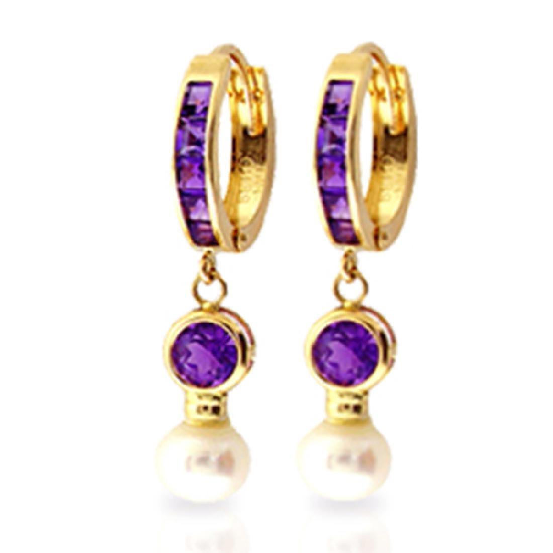 Genuine 4.15 ctw Amethyst & Pearl Earrings Jewelry 14KT