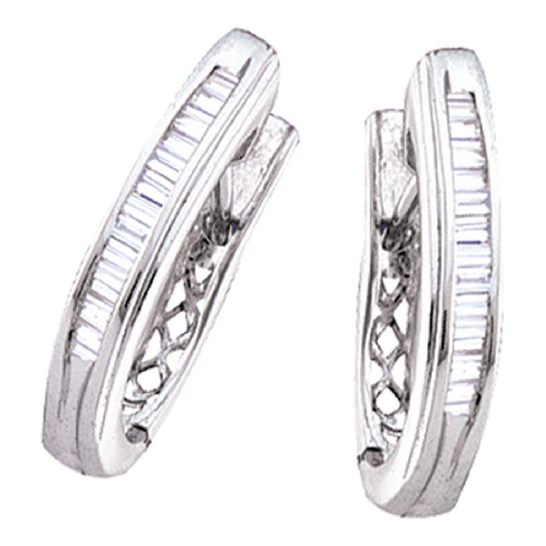 0.47 CTW Diamond Hoop Earrings 14KT White Gold -