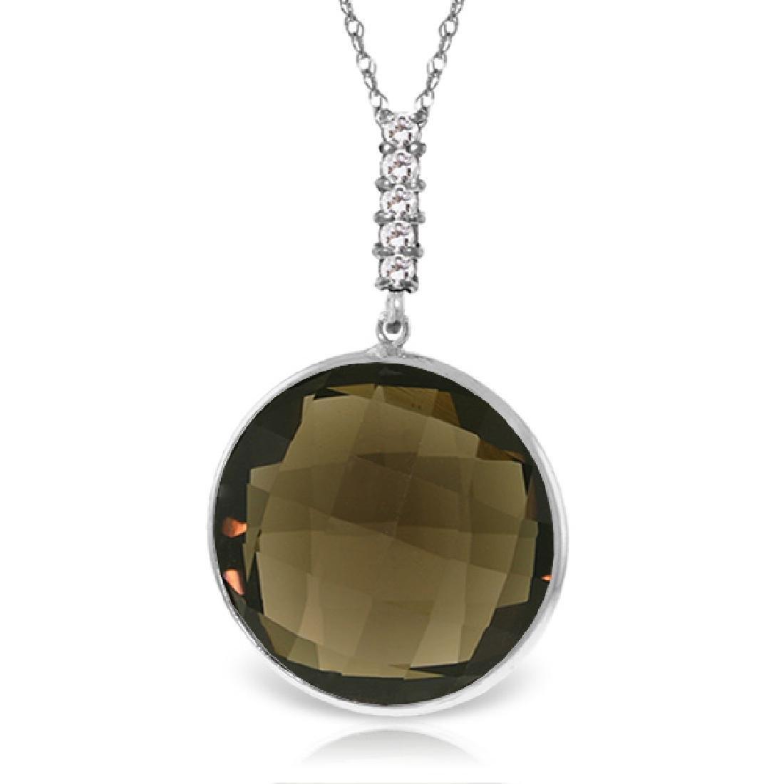 Genuine 17.08 ctw Smoky Quartz & Diamond Necklace