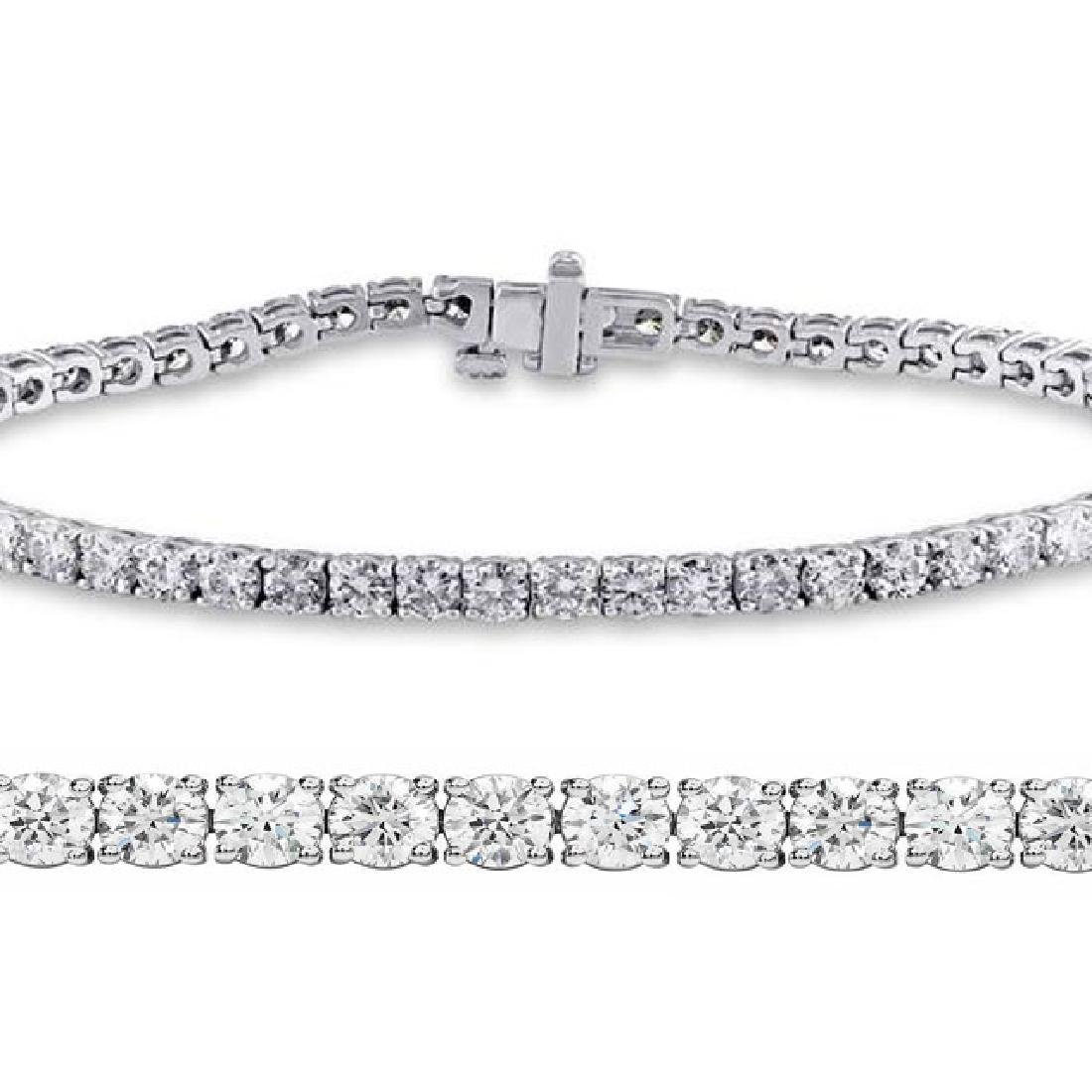 Natural 3.01ct VS-SI Diamond Tennis Bracelet Platinum -