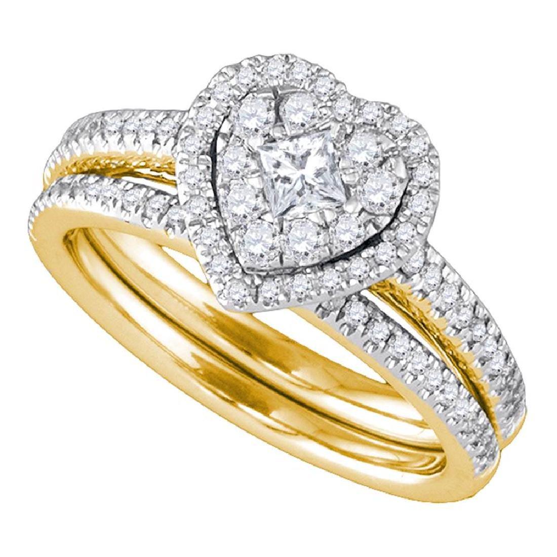 0.75 CTW Princess Diamond Heart Bridal Engagement Ring