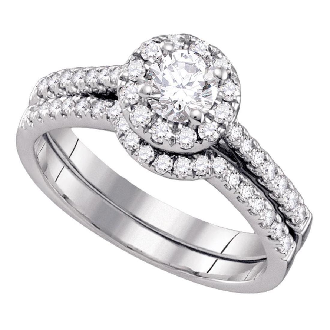 0.50 CTWDiamond Halo Bridal Engagement Ring 14KT White