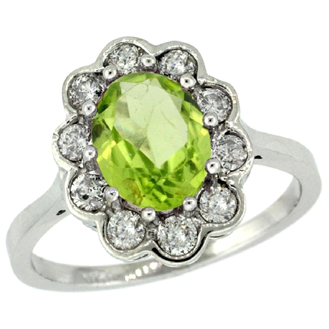 Natural 2.73 ctw Peridot & Diamond Engagement Ring 10K