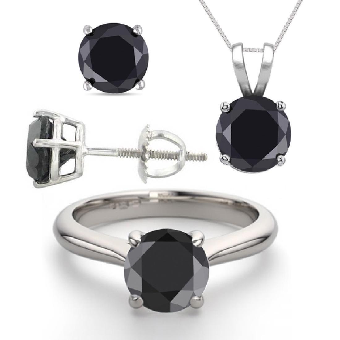 14K White Gold Jewelry SET 6.0CTW Black Diamond Ring,
