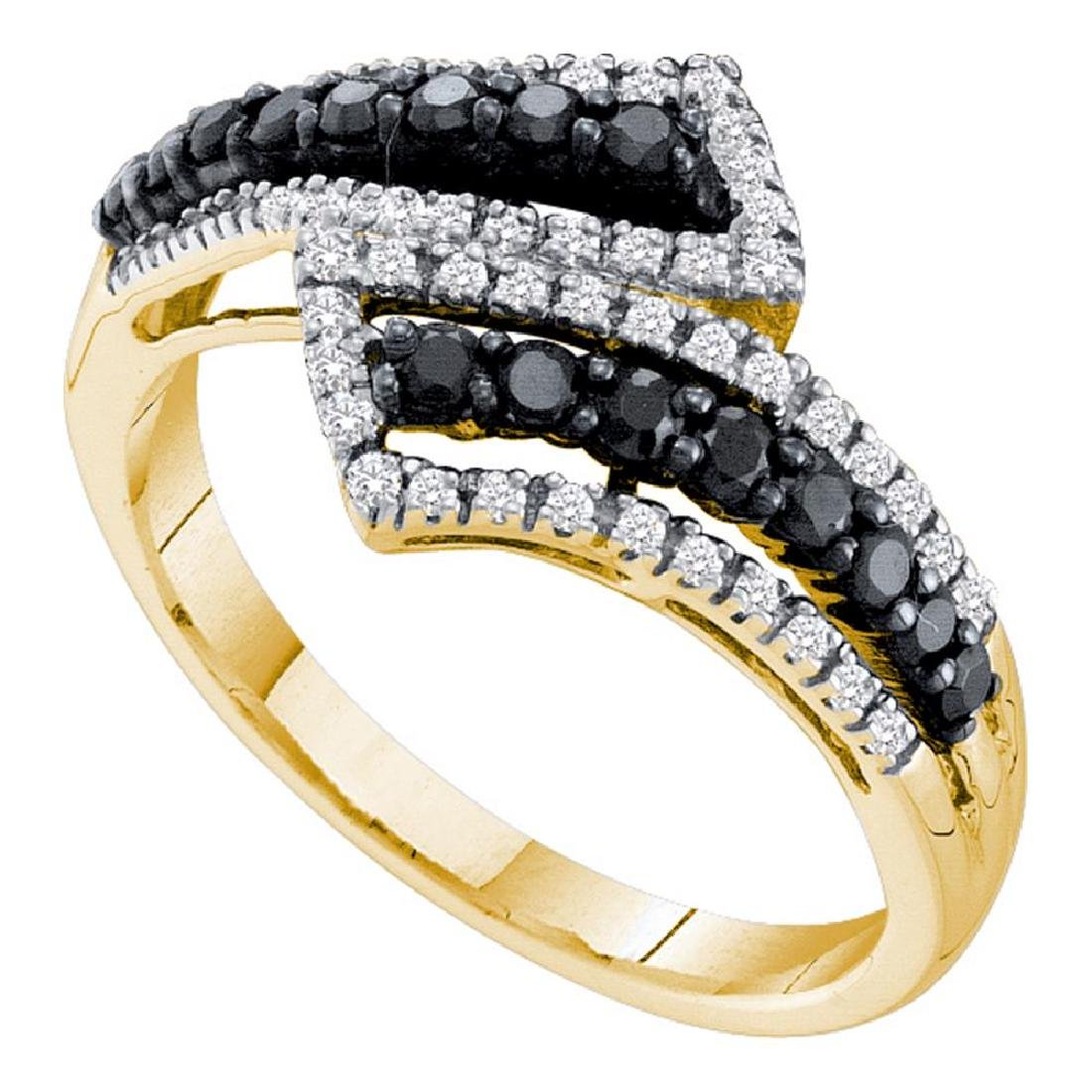 0.50 CTWBlack Color Diamond Bypass Ring 14KT Yellow