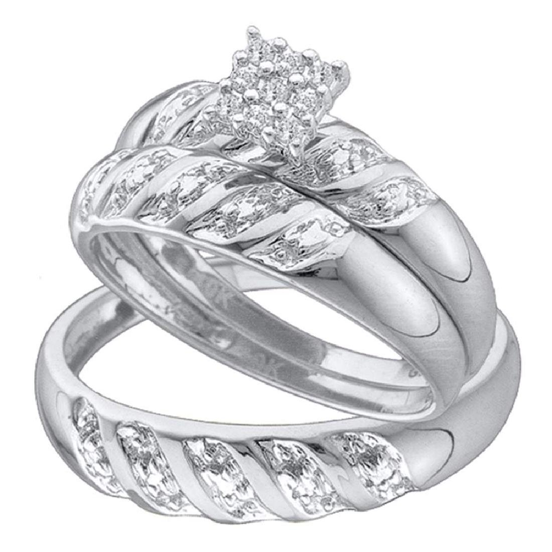 0.09 CTW His & Hers Diamond Cluster Matching Bridal