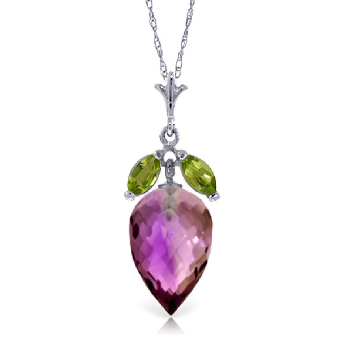 Genuine 10 ctw Amethyst & Peridot Necklace Jewelry 14KT