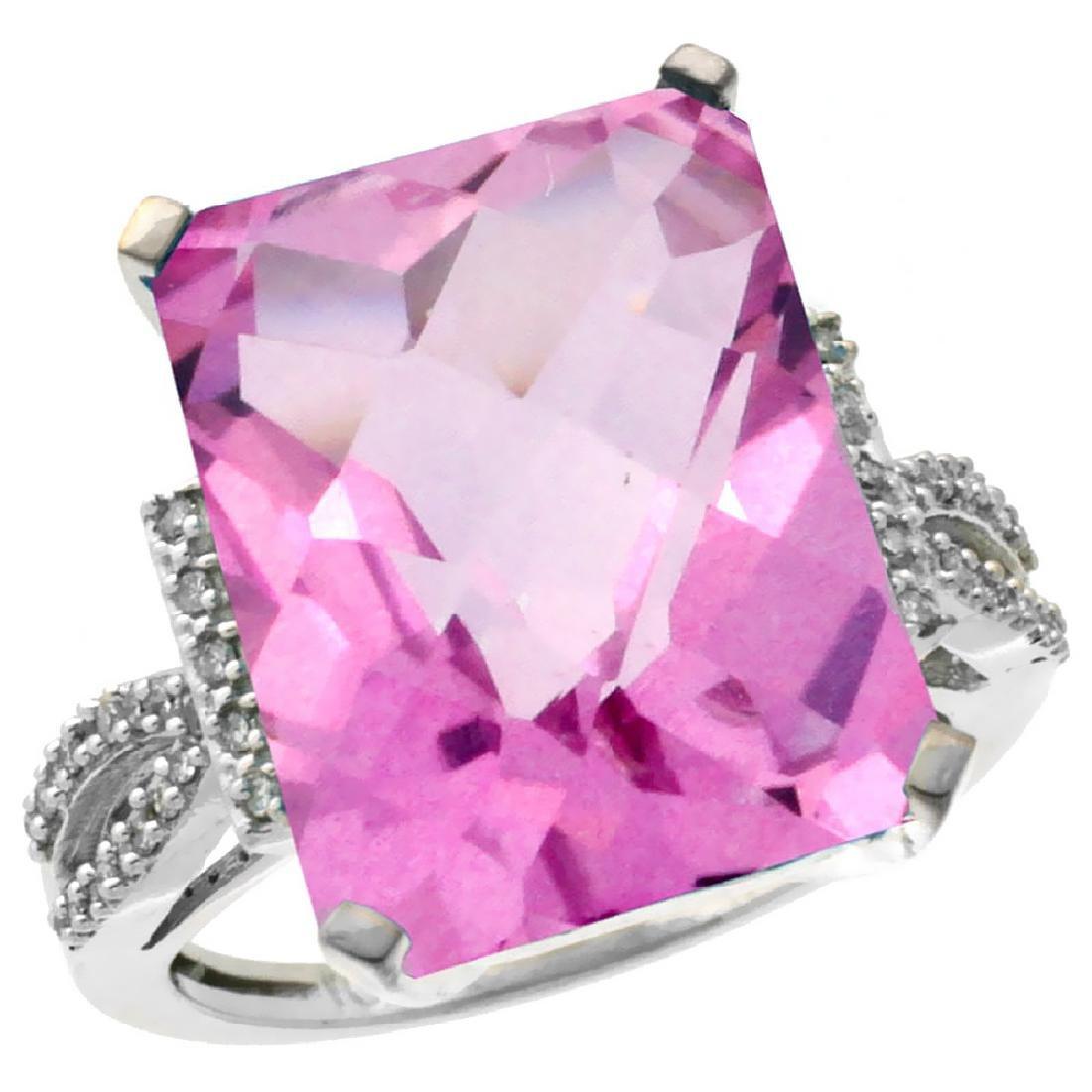 Natural 12.14 ctw Pink-topaz & Diamond Engagement Ring