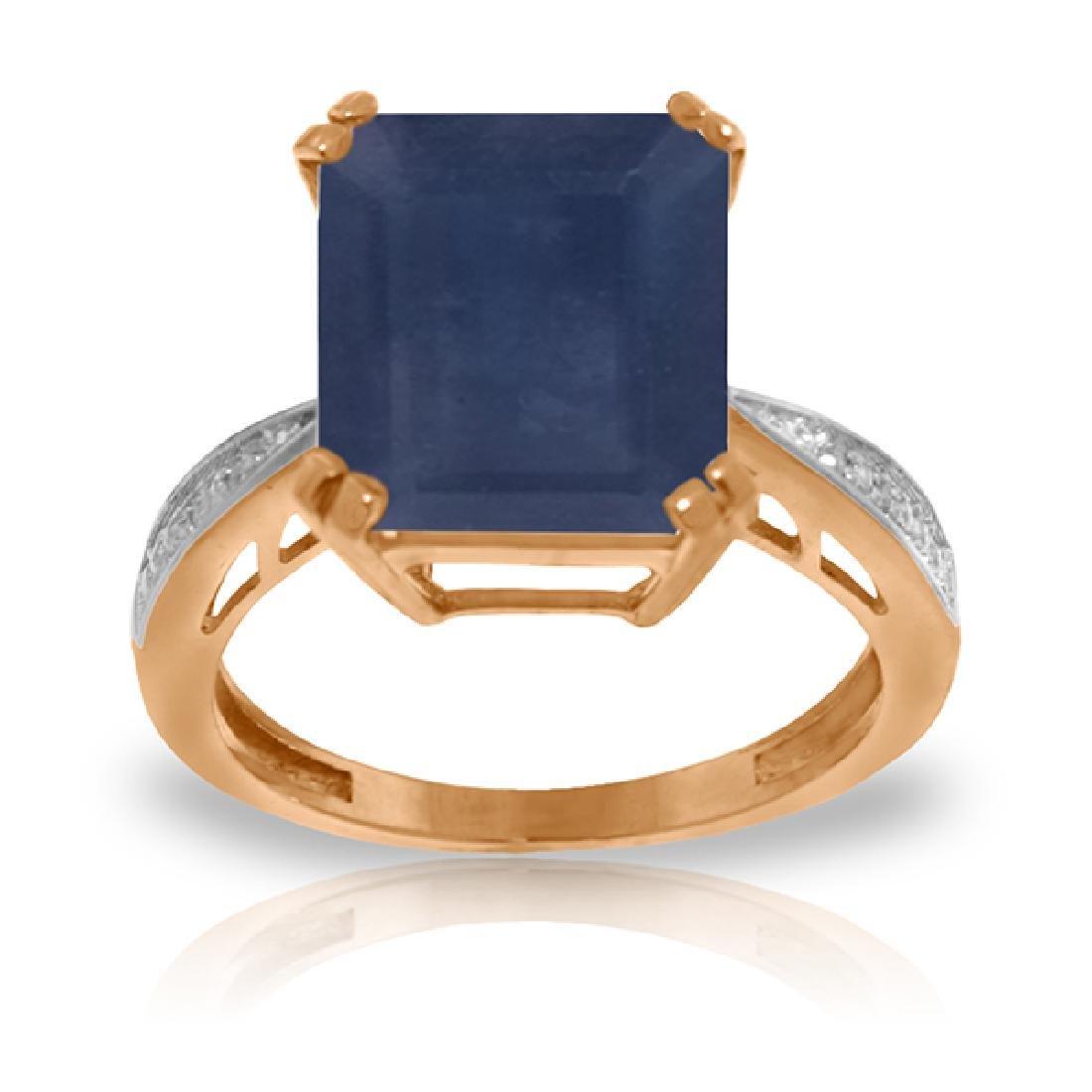Genuine 7.27 ctw Sapphire & Diamond Ring Jewelry 14KT