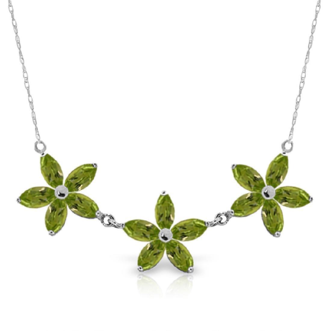 Genuine 4.2 ctw Peridot Necklace Jewelry 14KT White