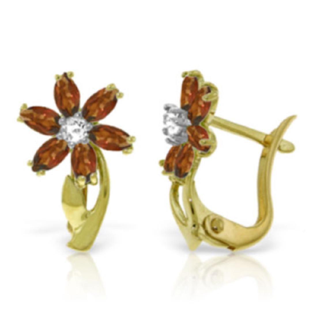 Genuine 1.10 ctw Garnet & Diamond Earrings Jewelry 14KT