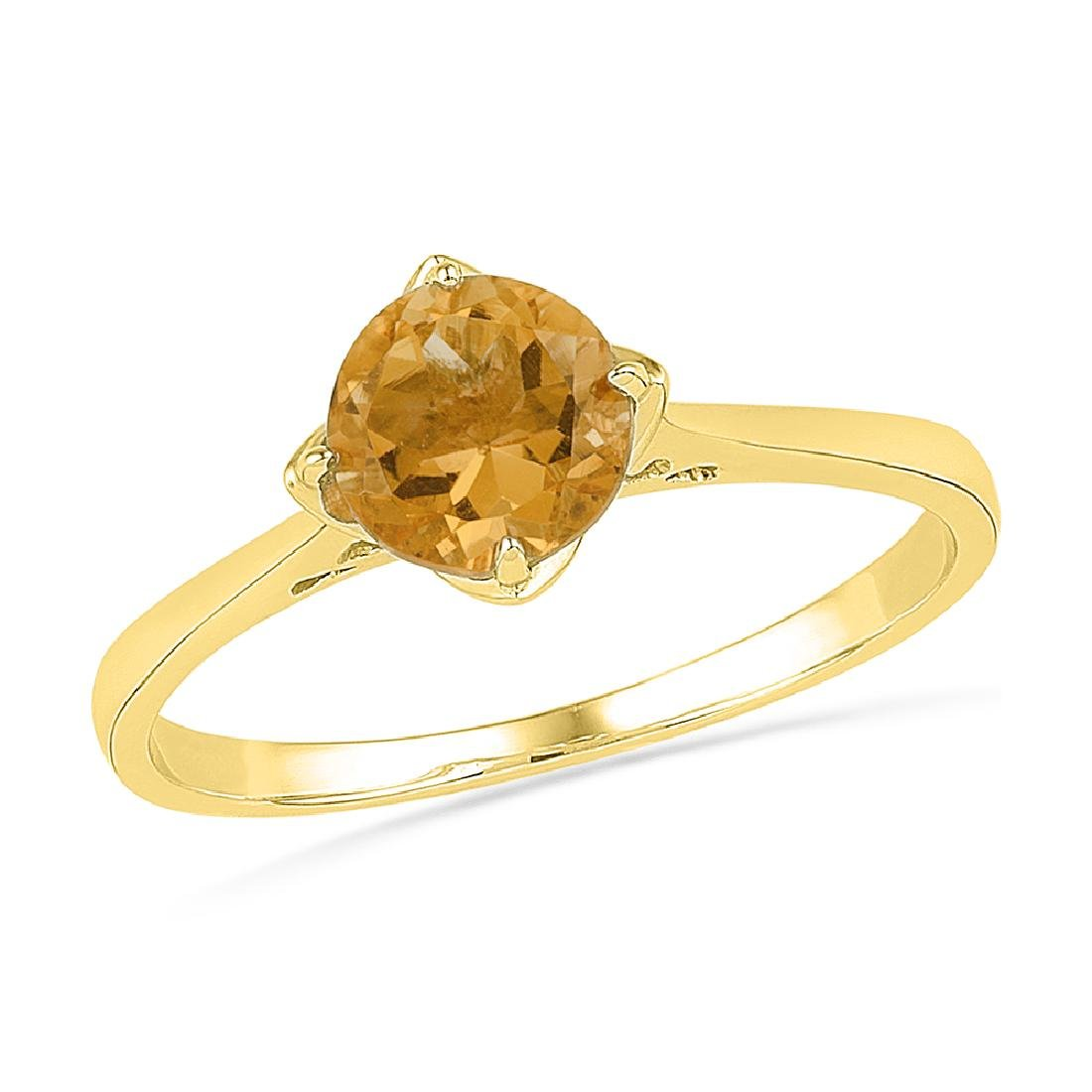 0.75 CTW Created Citrine Solitaire Ring 10KT Yellow