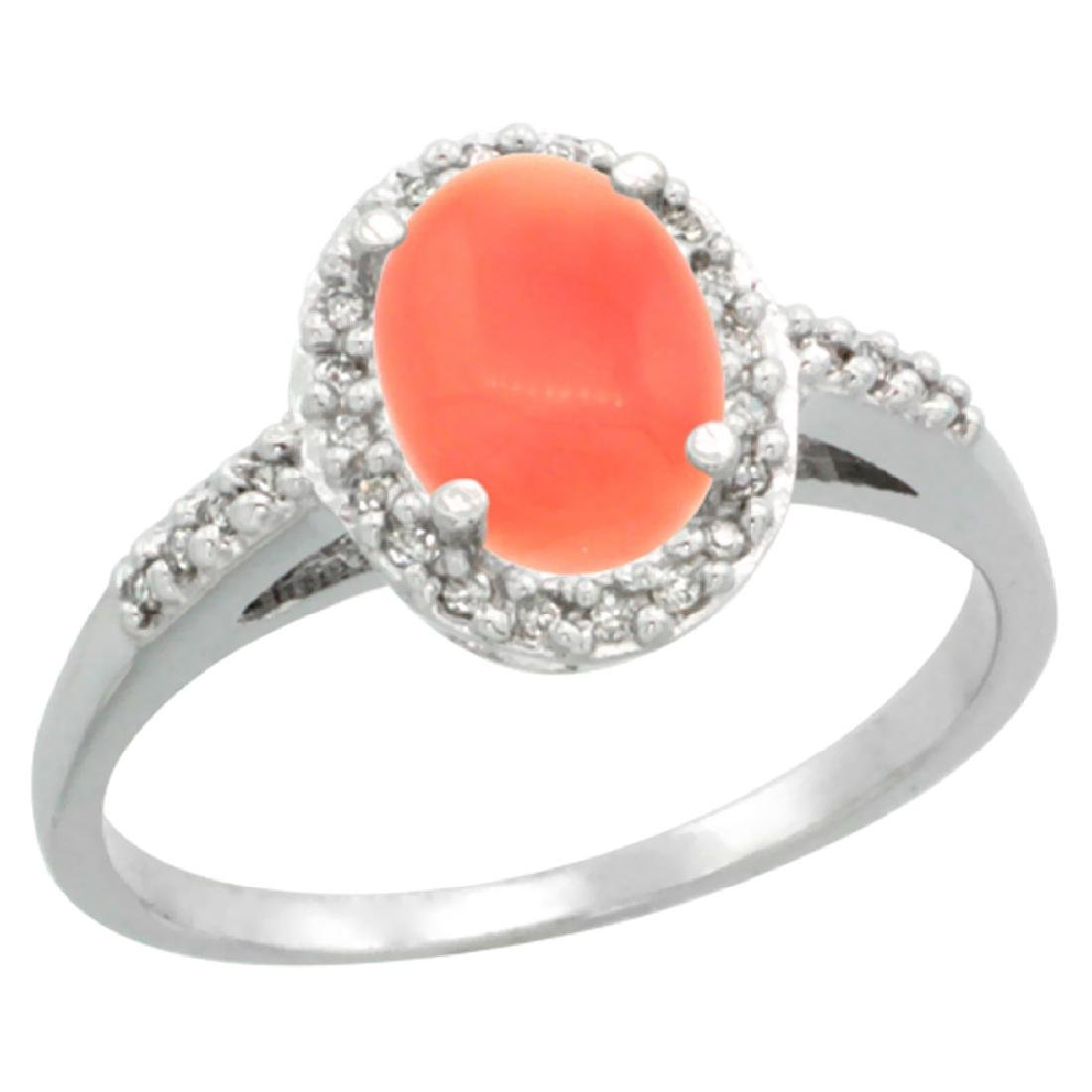 Natural 1.25 ctw Coral & Diamond Engagement Ring 10K