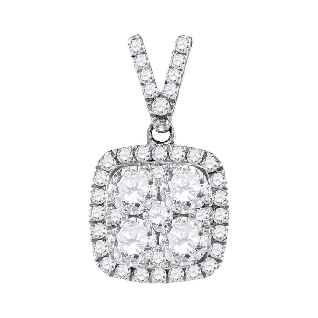 1.35 CTW Diamond Square Cluster Pendant 10KT White Gold