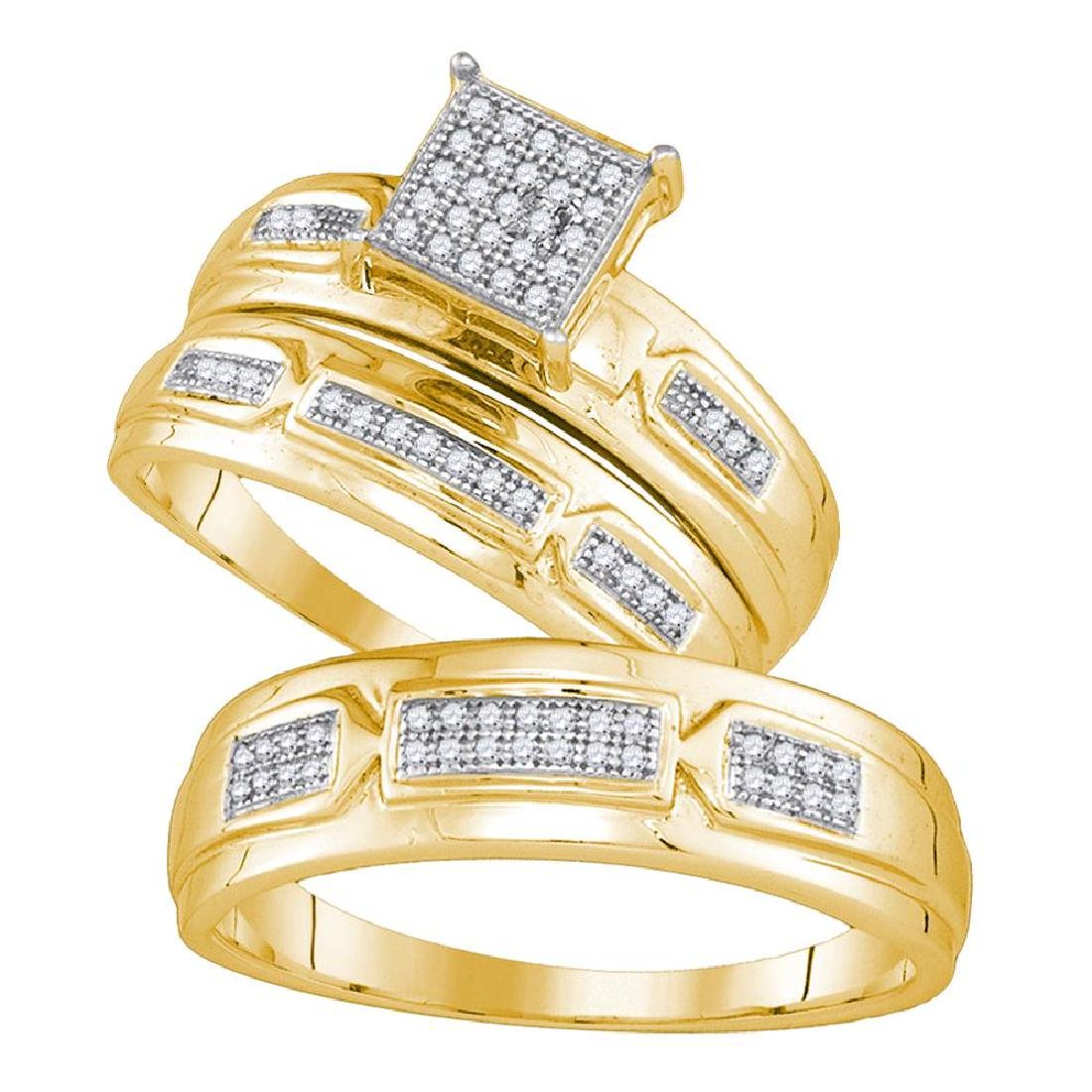 0.20 CTW His & Hers Diamond Cluster Matching Bridal