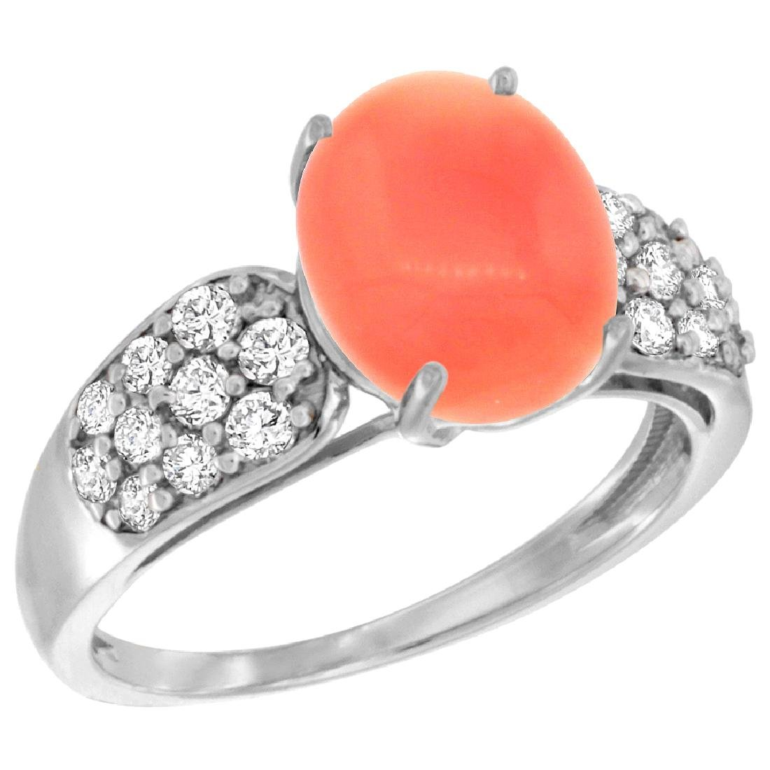 Natural 2.35 ctw coral & Diamond Engagement Ring 14K