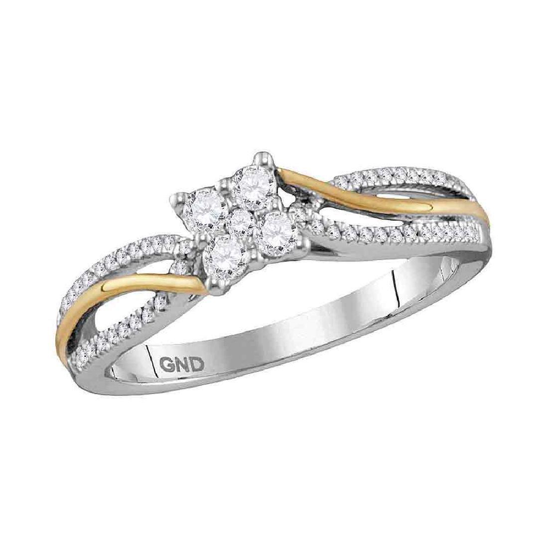 0.26 CTW Diamond Cluster Promise Bridal Ring 10KT