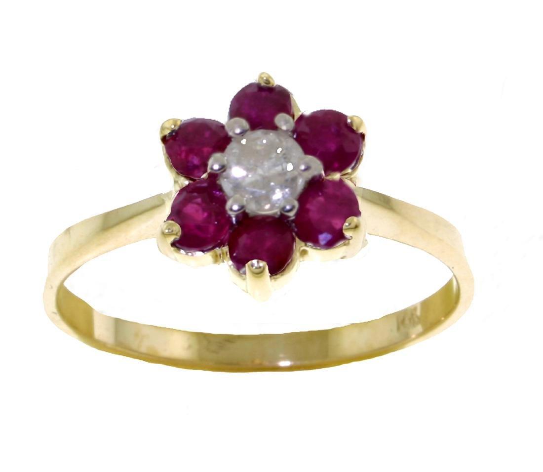 Genuine 0.50 ctw Ruby & Diamond Ring Jewelry 14KT