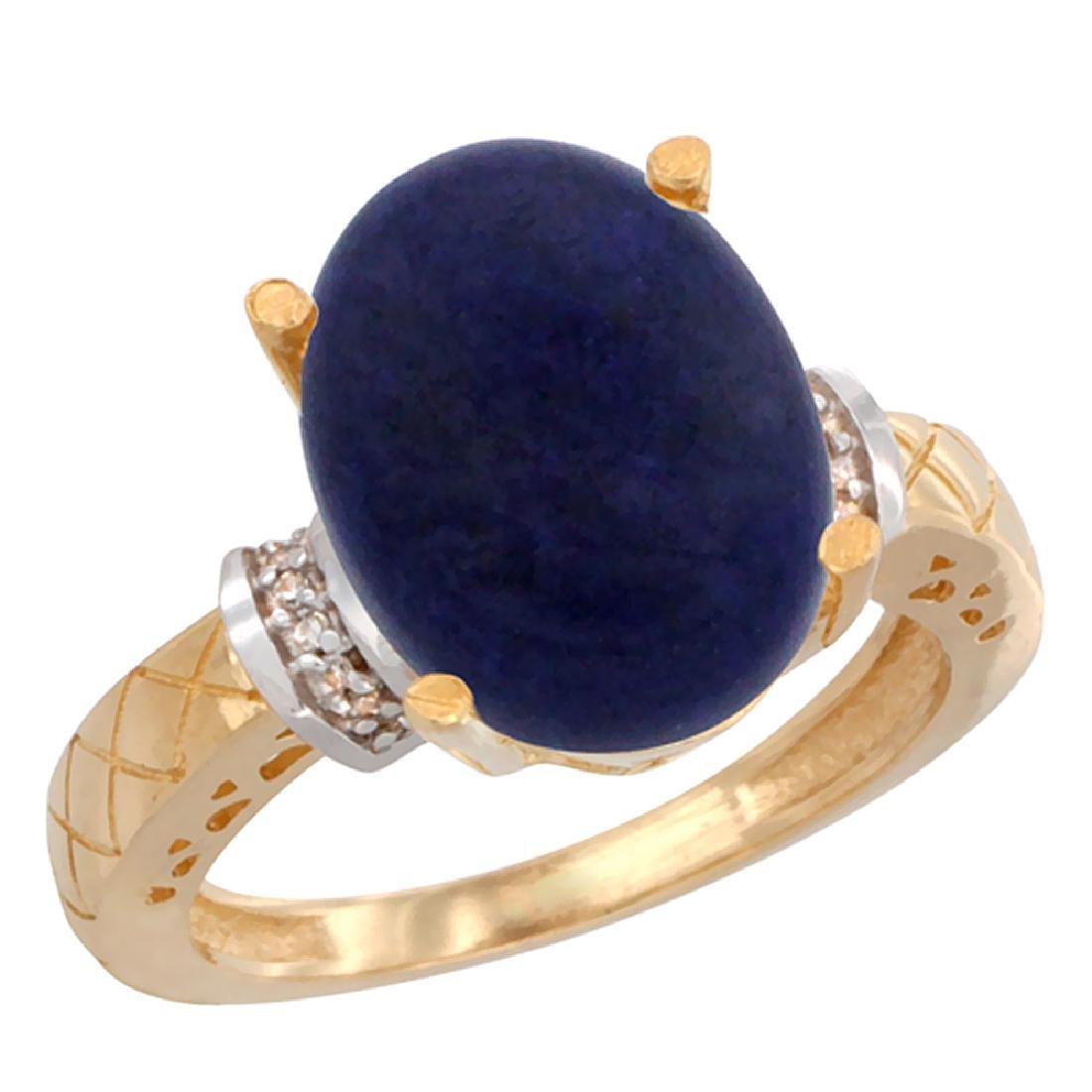 Natural 5.53 ctw Lapis & Diamond Engagement Ring 10K