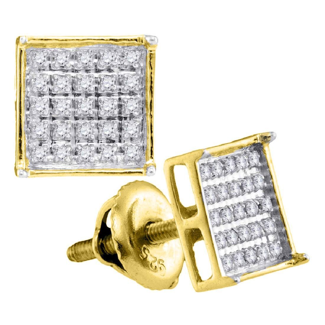 0.15 CTW Diamond Square Cluster Stud Earrings 14KT