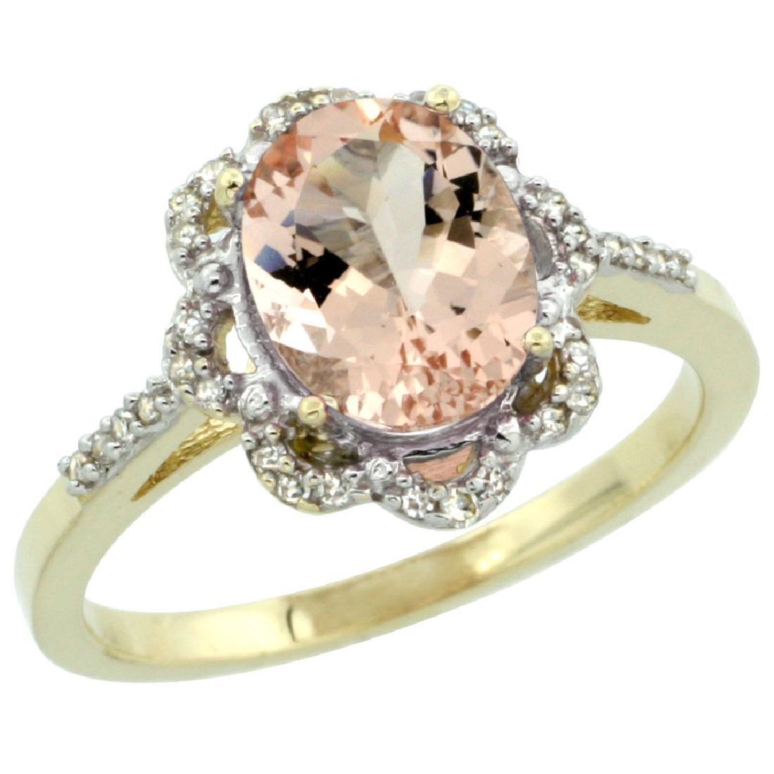 Natural 1.8 ctw Morganite & Diamond Engagement Ring 10K