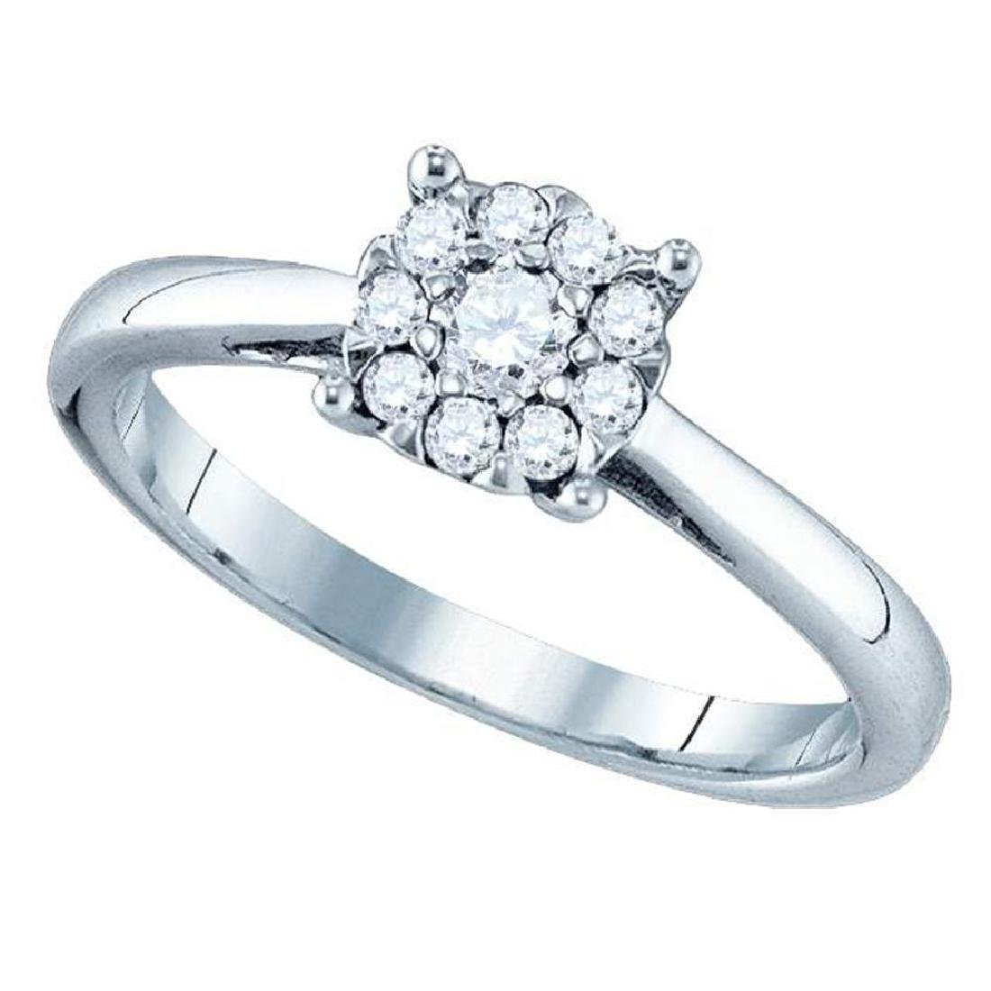 0.48 CTW Diamond Cluster Bridal Engagement Ring 18KT