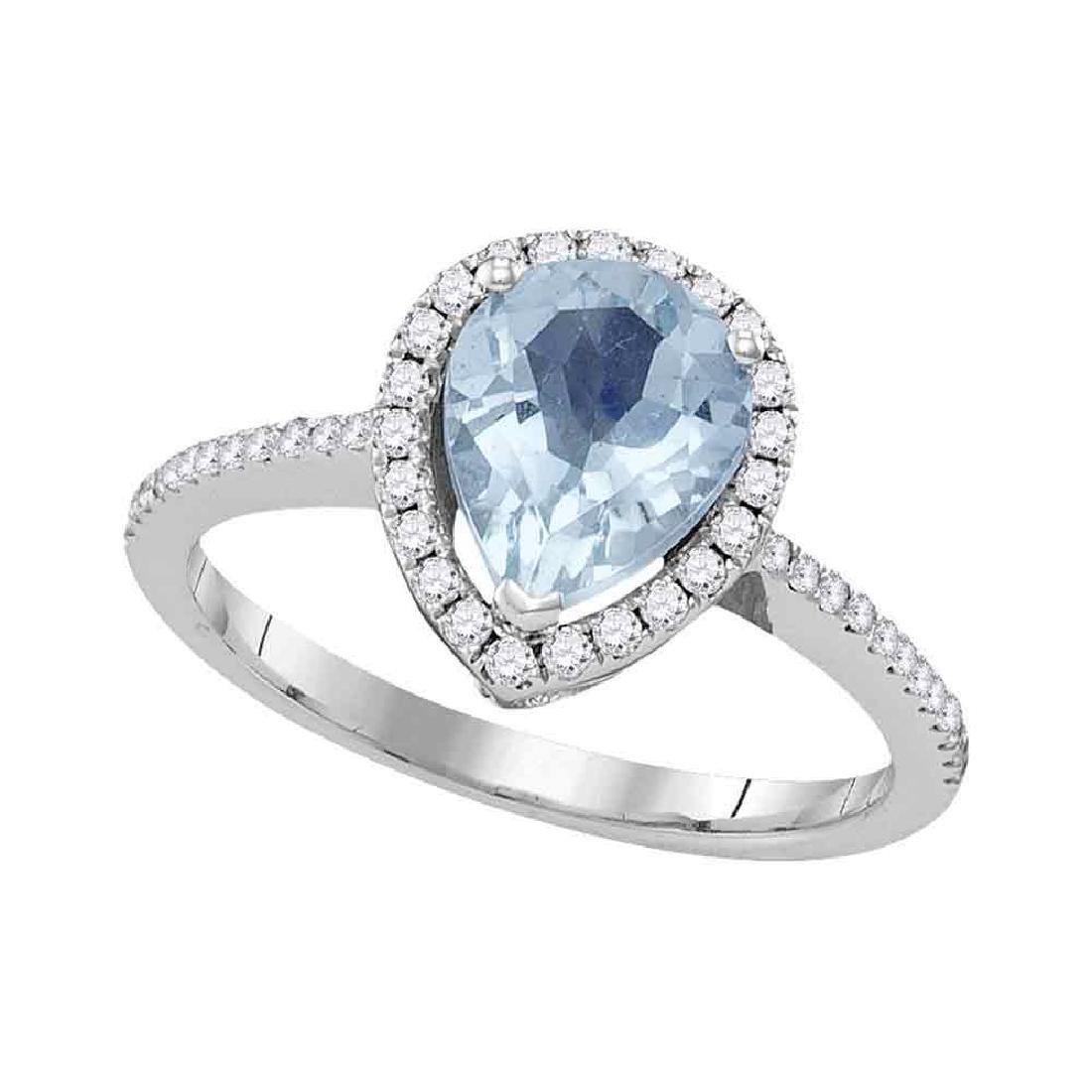 1.45 CTW Pear Aquamarine Solitaire Diamond Teardrop