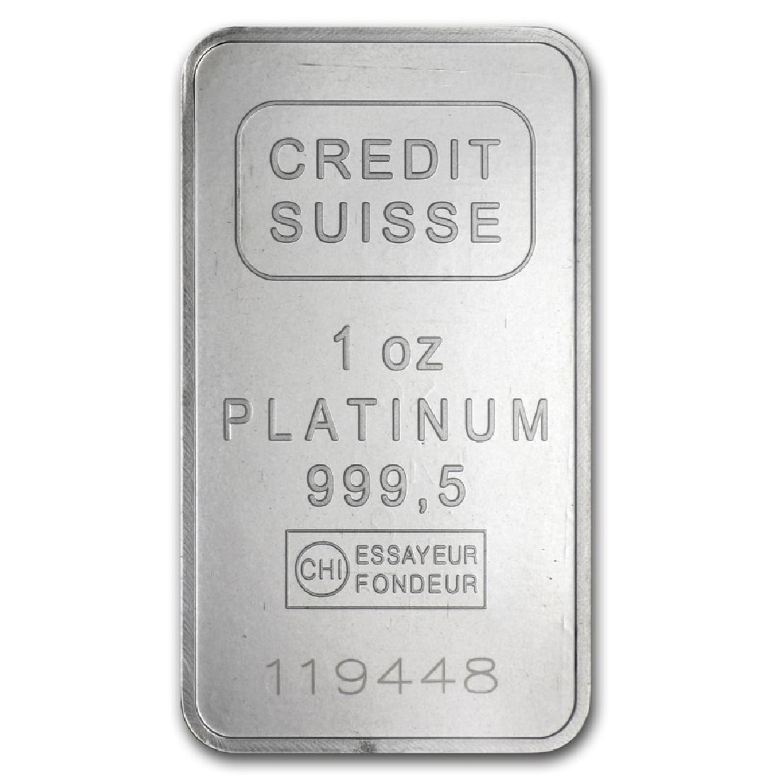 Genuine 1 oz 0.9999 Fine Platinum Bar - Credit Suisse