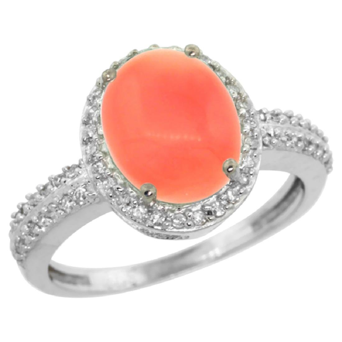 Natural 2.56 ctw Coral & Diamond Engagement Ring 10K