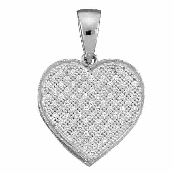 0.10 CTW Diamond Classic Heart Cluster Pendant 10KT