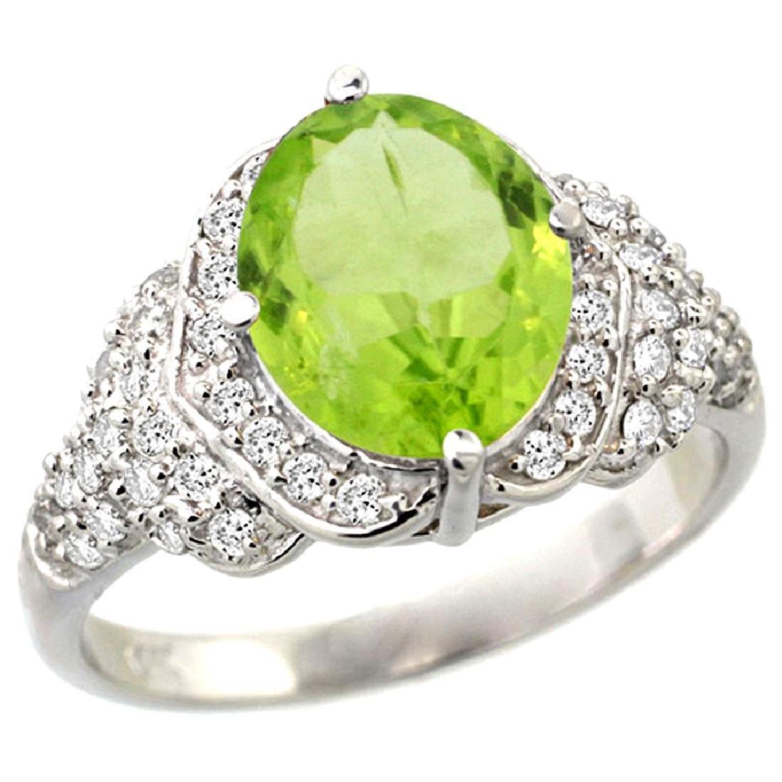 Natural 3.3 ctw peridot & Diamond Engagement Ring 14K
