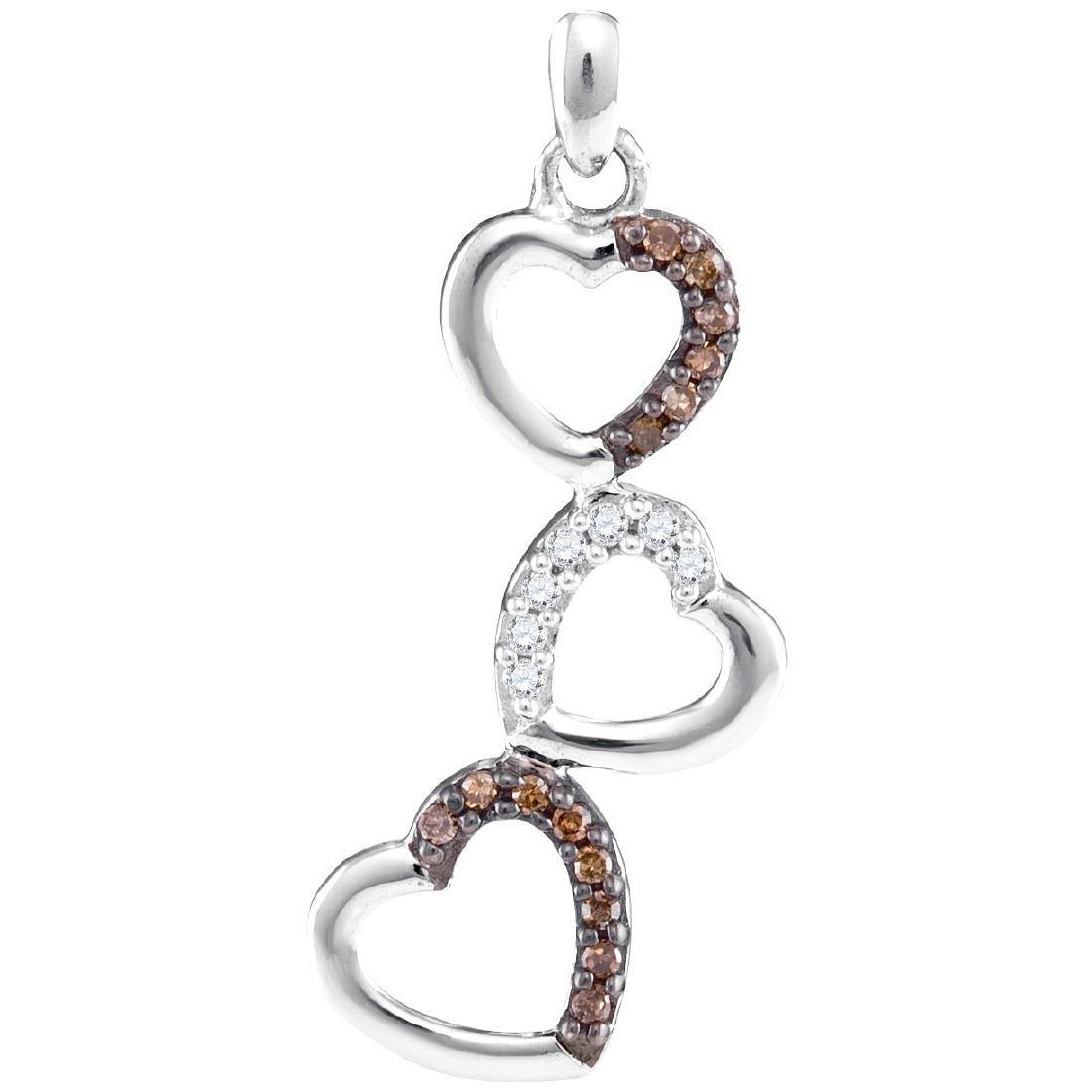 0.17 CTW Cognac-brown Color Diamond Triple Heart Love