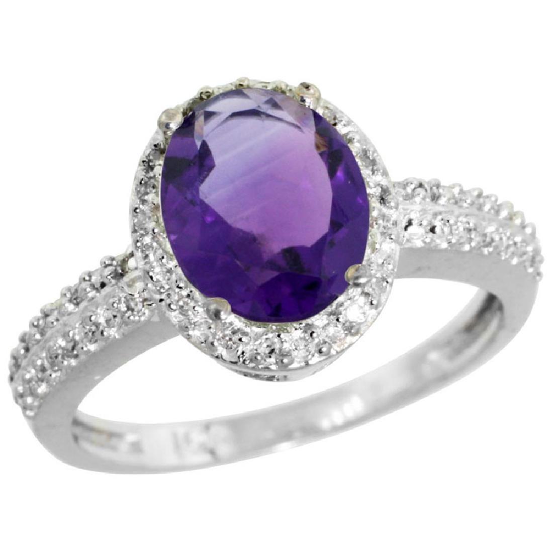 Natural 1.91 ctw Amethyst & Diamond Engagement Ring 14K