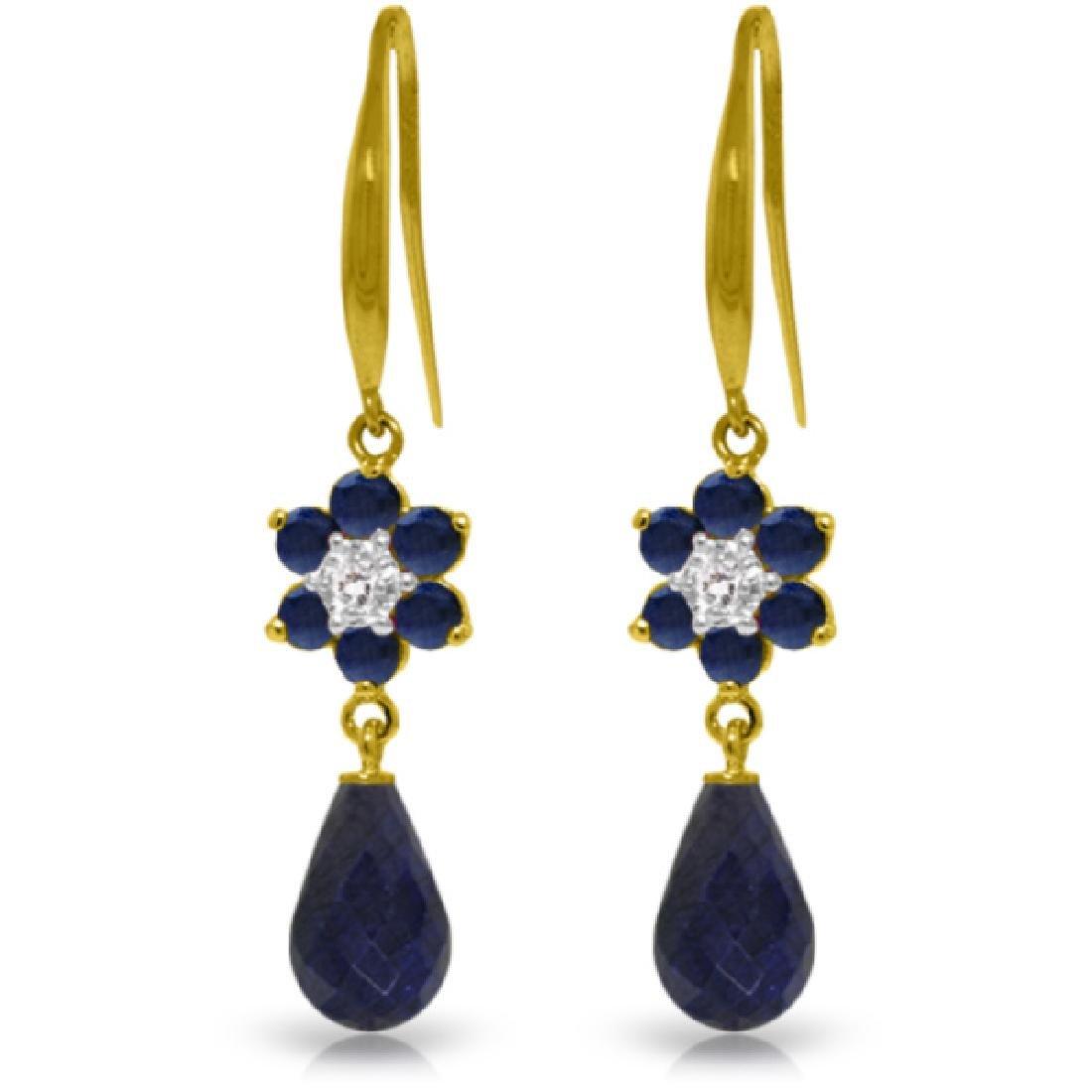 Genuine 7.61 ctw Sapphire & Diamond Earrings Jewelry